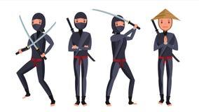 Classic Ninja Vector. Warrior Samurai In Mask. Isolated Cartoon Illustration. Cheerful Ninja Vector. Warrior Samurai With Weapon Sword. Isolated On White Flat Royalty Free Stock Photography