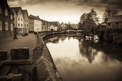 Classic Norwich riverside scene with sepia treatment Royalty Free Stock Photo