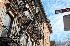Classic NY - Brooklyn. Fulton Ferry Historic district, Water St Royalty Free Stock Image