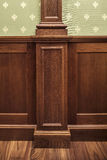 Classic oaken wall paneling in the interior. Wall Interior decoration classic oaken wall paneling Stock Photo