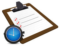 Classic office clock and check list illustration Royalty Free Stock Photography