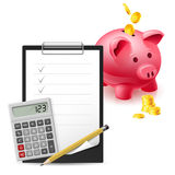 Classic Office items. Big pink moneybox, Coins, Note, Pen and Calculator on a white background Royalty Free Stock Photo