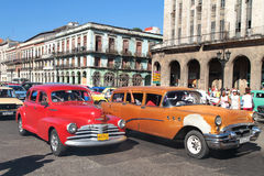 Classic old American car in Havana center Stock Images