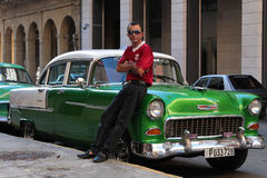Classic old American car in Havana Royalty Free Stock Photos