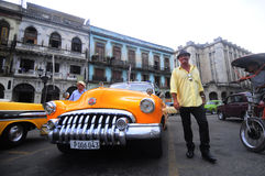 Classic old american car on the streets of Havana Stock Images