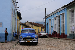Classic old american car on the streets of Havana Stock Photos