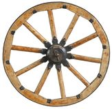 Classic Old Antique Wooden Wagon Wheel Rim Spoke With Black Metal Brackets And Rivets. Traditional Cannon Wheel Isolated On White. Stock Photos