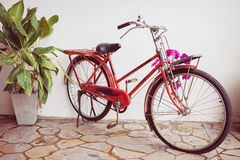 Classic old bicycle decorated Stock Photo