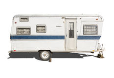Classic Old Camper Trailer on White Stock Photo