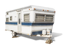 Classic Old Camper Trailer on White Royalty Free Stock Photography