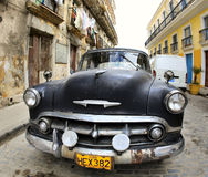 Classic old car is black color Stock Images