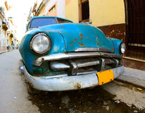A classic old car is blue color Stock Images