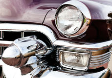 Classic old car close-up front right view Stock Photos