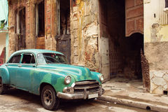 Classic old car on streets of Havana, Cuba. Royalty Free Stock Images