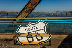 Classic Old Chain of Rocks Bridge crosses the Missouri River in St. Louis and shows classic neon signs of Route 66 - attached to b Stock Images