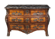 Classic old original vintage marble top wooden chest bureau comm Royalty Free Stock Photos