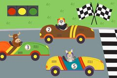 Classic old race cars with animal on races. Vector illustration, eps Royalty Free Stock Photos