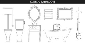 Classic old style furniture for the bathroom. Classic old style furniture for the bathroom interior. Furniture set. Vector illustration. Bath, sink, toilet Royalty Free Stock Photo