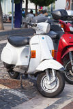 Classic old style Vespa scooters on parking Royalty Free Stock Photography