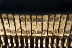 Classic old vintage typewriter keyboard and keys Royalty Free Stock Photos