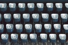 Classic old vintage typewriter keyboard and keys Stock Photo