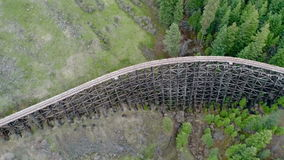 Classic old wood train bridge in an Idaho forest stock footage