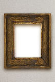 Classic old wooden picture frame carved by hand gray wallpaper Stock Images