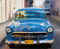 Classic oldtimer car parked on street in Matanzas, Cuba. Stock Photo