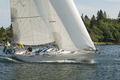 Classic Omega 42 sailing Stockholm archipelago Royalty Free Stock Photography