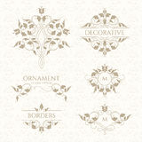 Classic ornament. Set of decorative  borders and monograms. Stock Photography