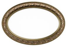 Classic oval picture frame or mirror isolated on w Royalty Free Stock Photography