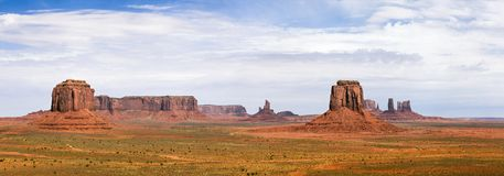 Classic Panorama of American West, Monument Valley Royalty Free Stock Images