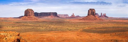 Classic Panorama of American West, Monument Valley. Classic view of Monument Valley from Artist Point. Monument Valley Navajo Tribal Park, Utah and Arizona, USA Stock Photos