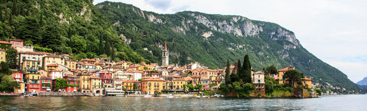 Classic Panorama view of beautiful Varenna Town, Lake Como, Lombardy, Italy, Europe. stock photography