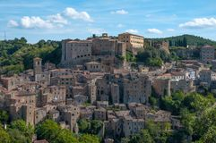 Beautiful classic panoramic view of the ancient town of Sorano in autumn, province of Grosseto, southern Tuscany, Italy Royalty Free Stock Photography