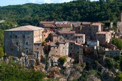 Beautiful classic panoramic view of the ancient town of Sorano in autumn, province of Grosseto, southern Tuscany, Italy. Classic panoramic view of the ancient Stock Photography