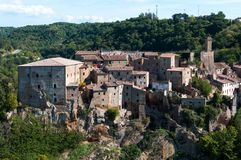Beautiful classic panoramic view of the ancient town of Sorano in autumn, province of Grosseto, southern Tuscany, Italy. Classic panoramic view of the ancient Royalty Free Stock Photos