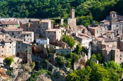 Beautiful classic panoramic view of the ancient town of Sorano in autumn, province of Grosseto, southern Tuscany, Italy. Classic panoramic view of the ancient Stock Image