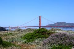 Classic panoramic view of famous Golden Gate Bridge in summer, San Francisco, California, USA Stock Photos