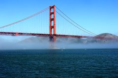 Classic panoramic view of famous Golden Gate Bridge in summer, San Francisco, California, USA Royalty Free Stock Photo