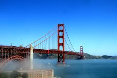 Classic panoramic view of famous Golden Gate Bridge in summer, San Francisco, California, USA Royalty Free Stock Photography