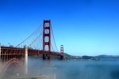 Classic panoramic view of famous Golden Gate Bridge in summer, San Francisco, California, USA Royalty Free Stock Images