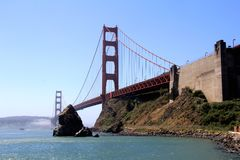 Classic panoramic view of famous Golden Gate Bridge in summer, San Francisco, California, USA Royalty Free Stock Image