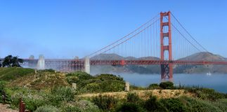 Classic panoramic view of famous Golden Gate Bridge in summer, San Francisco, California, USA Royalty Free Stock Photos