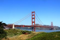 Classic panoramic view of famous Golden Gate Bridge in summer, San Francisco, California, USA Stock Photography