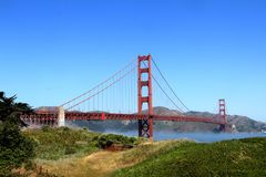 Classic panoramic view of famous Golden Gate Bridge in summer, San Francisco, California, USA Stock Image