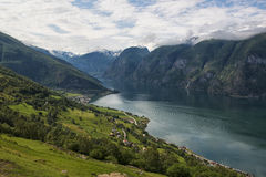 Classic panoramic view to the fjord from viewpoint on National Tourist Route Aurlandsfjellet, Norway Stock Image