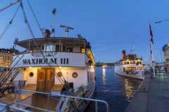 Classic passengerships in twilight Stockholm Royalty Free Stock Photo