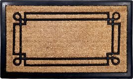 Classic peach color doormat with line art rubber zute and coir doormat. Isolated on a White Background stock photo