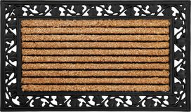 Classic peach color doormat with line art rubber zute and coir doormat. Isolated on a White Background royalty free stock images